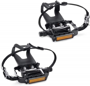 SEQI Bike Pedals with Clips and Straps for Outdoor Cycling